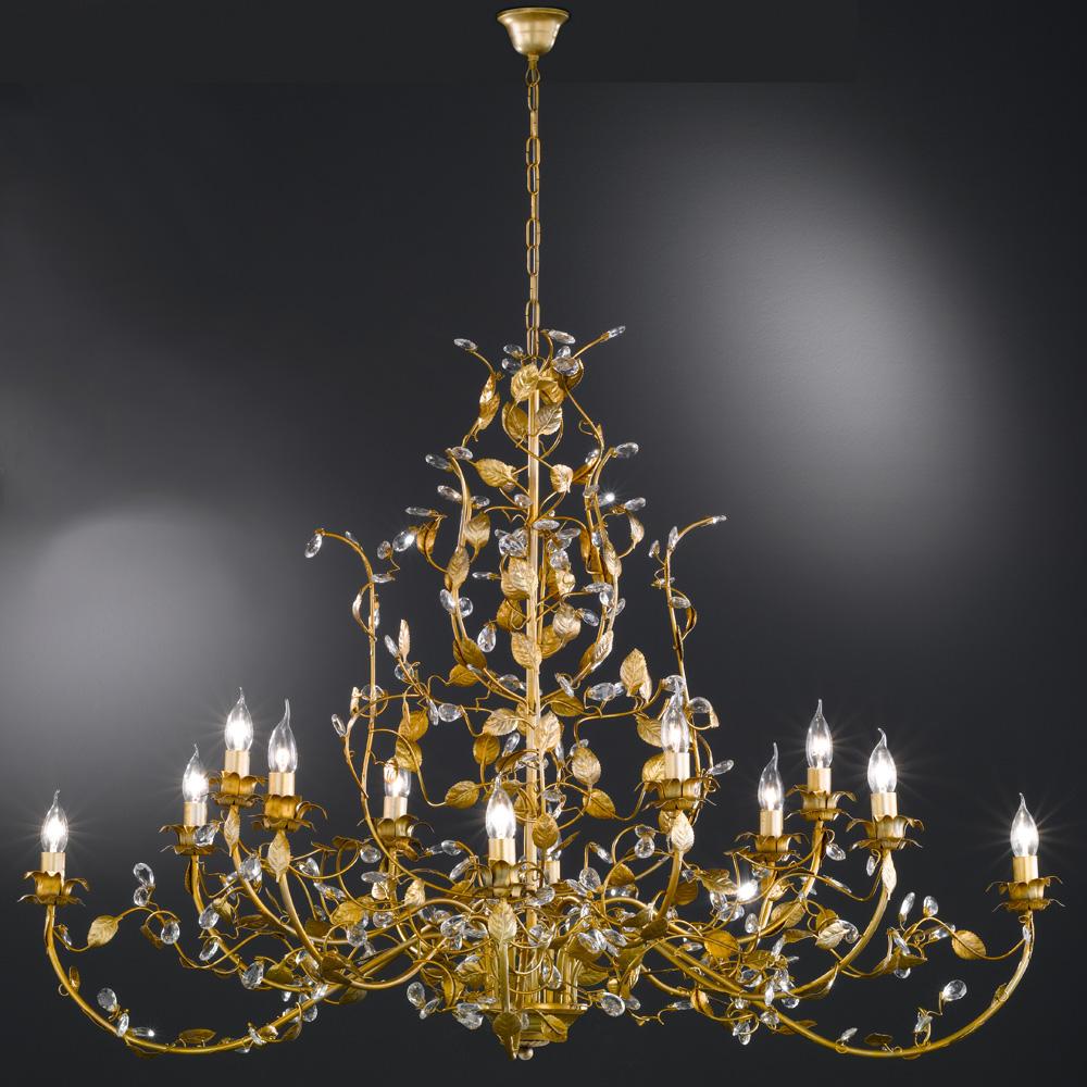 Kronleuchter Kette Gold : Pomp?ser flammiger kronleuchter golden mit glasbehang