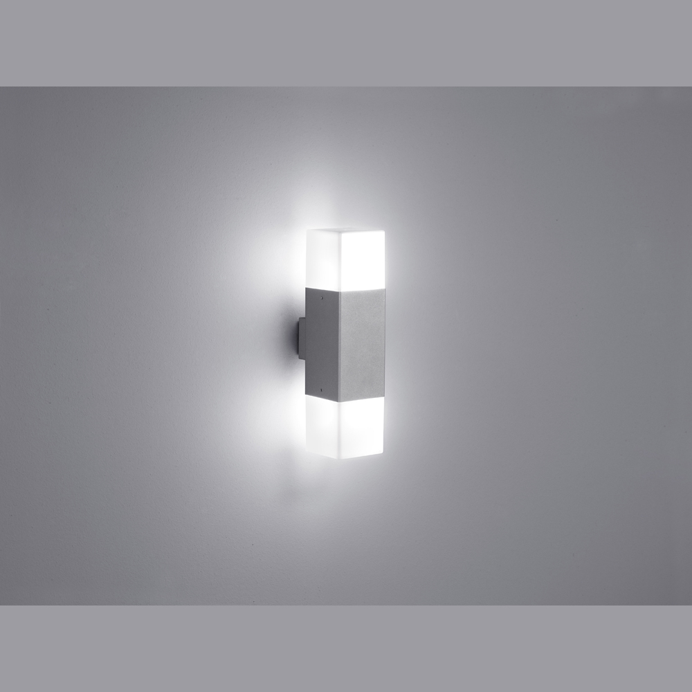 titangraue quadratische doppel led wand aussenlampe. Black Bedroom Furniture Sets. Home Design Ideas