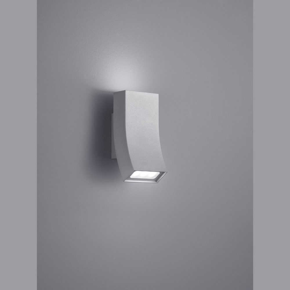 sanft geschwungene led wand aussenlampe titangrau. Black Bedroom Furniture Sets. Home Design Ideas