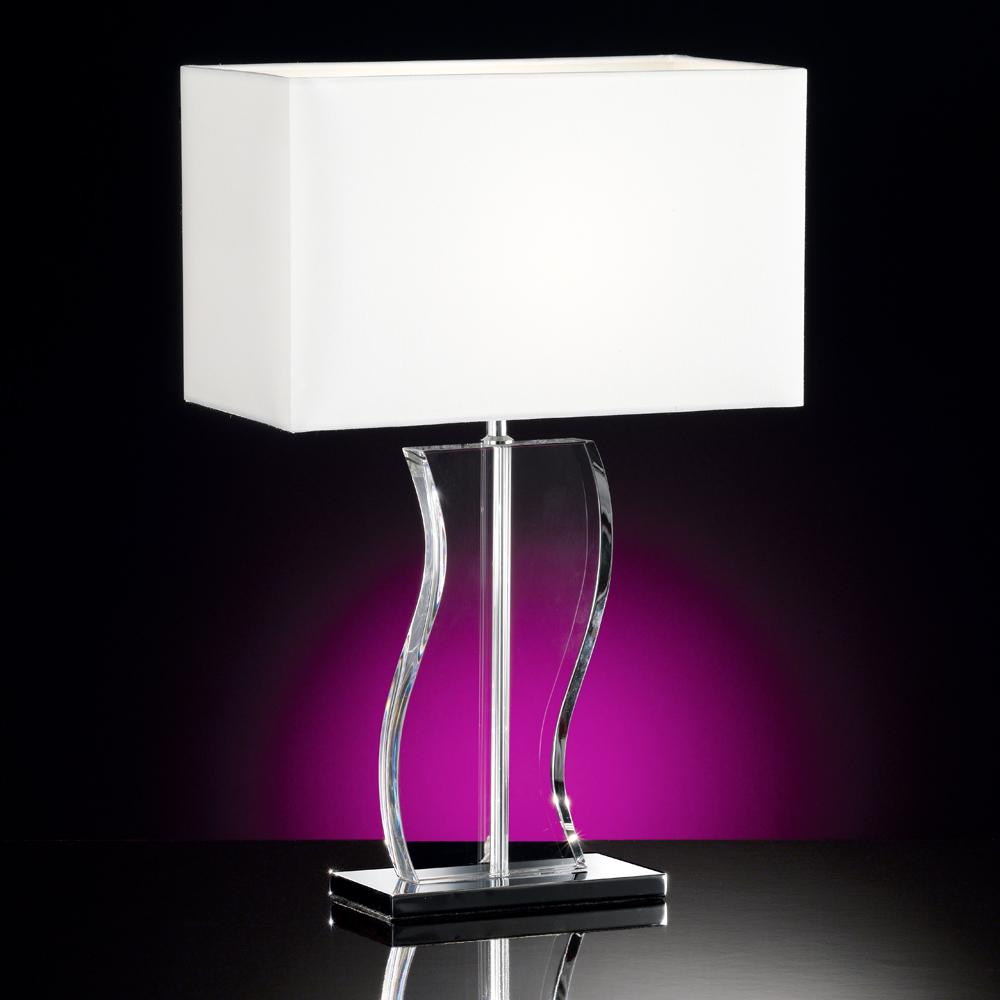 schwungvolle tischlampe in chrom und glas size 2. Black Bedroom Furniture Sets. Home Design Ideas