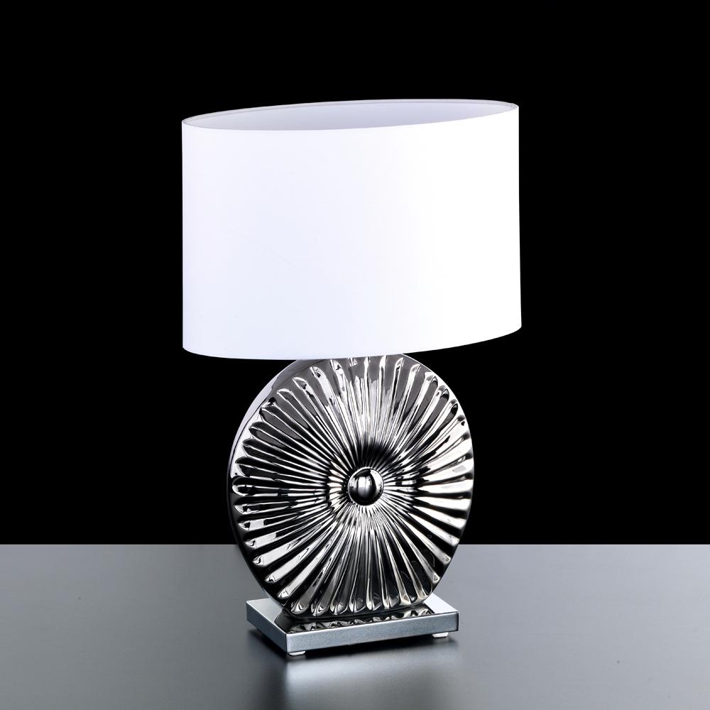 ovale tischlampe keramik chrom mit strahlenmuster. Black Bedroom Furniture Sets. Home Design Ideas