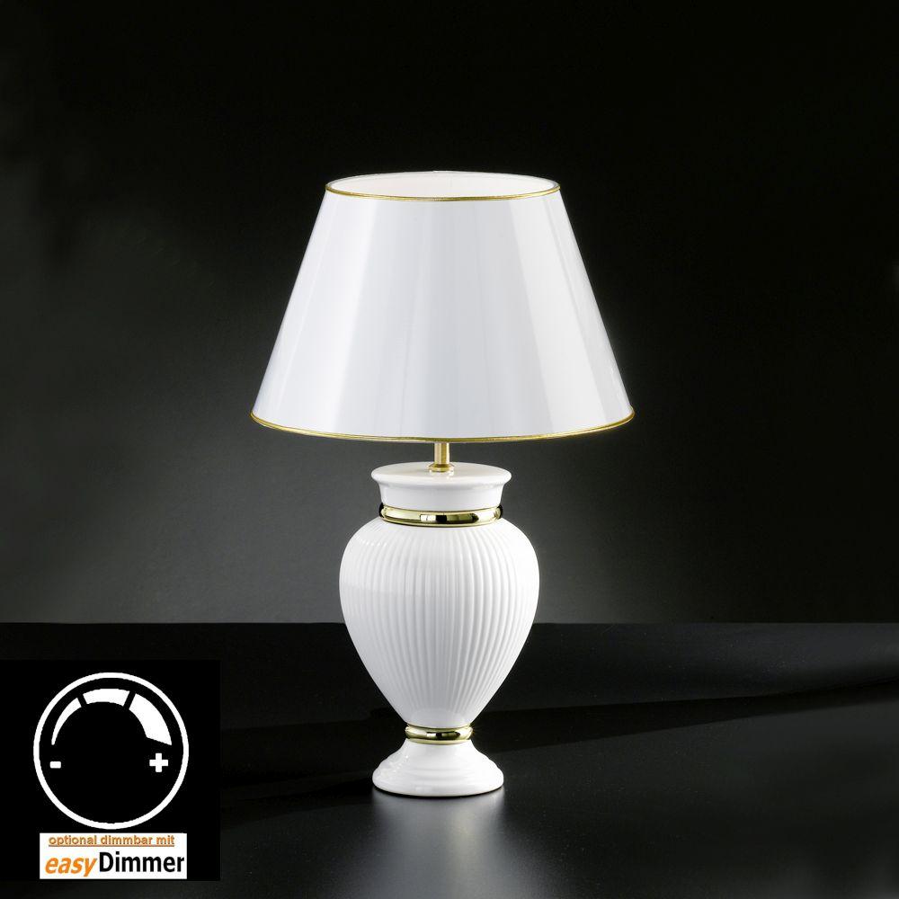 tischlampe keramik weiss mit lackiertem schirm. Black Bedroom Furniture Sets. Home Design Ideas