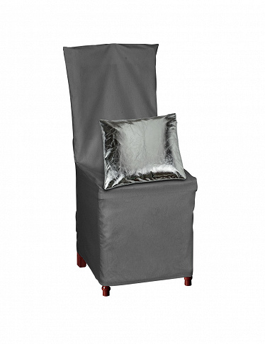 housse de chaise avec noeud d co gris. Black Bedroom Furniture Sets. Home Design Ideas