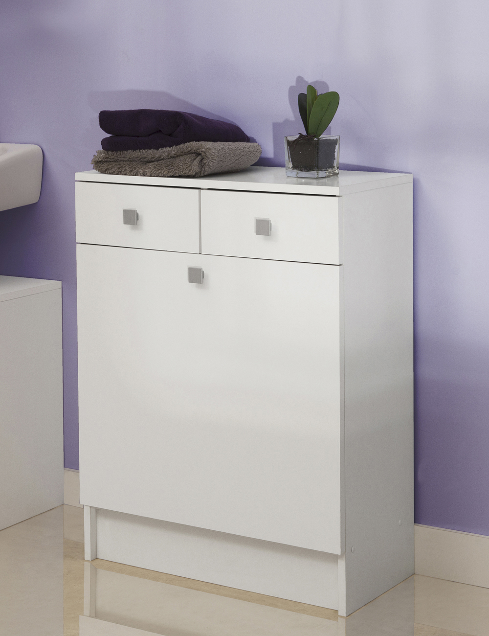 armoire linge sale avec sac int gr blanc. Black Bedroom Furniture Sets. Home Design Ideas