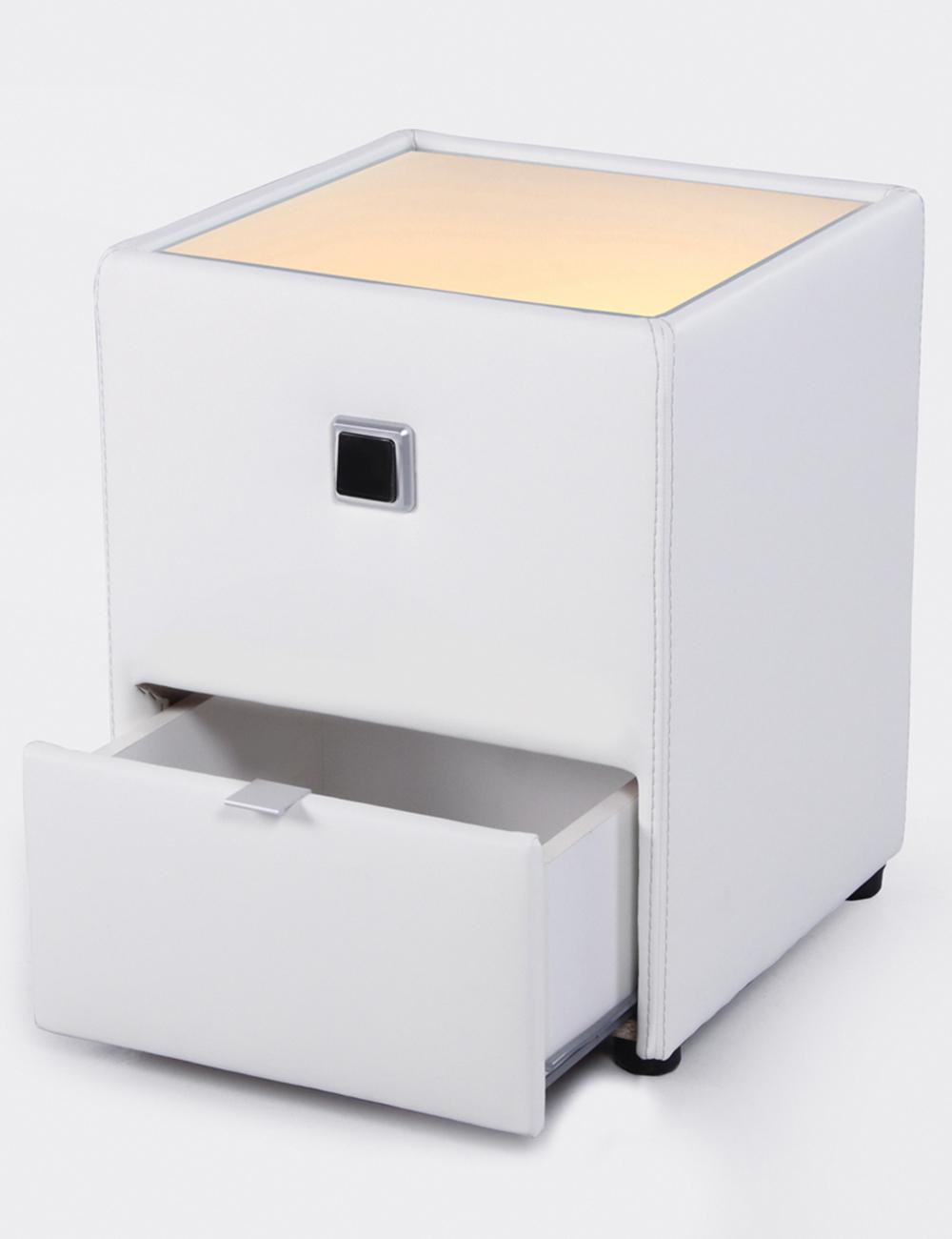 Table de chevet lenny blanc for Table de chevet habitat