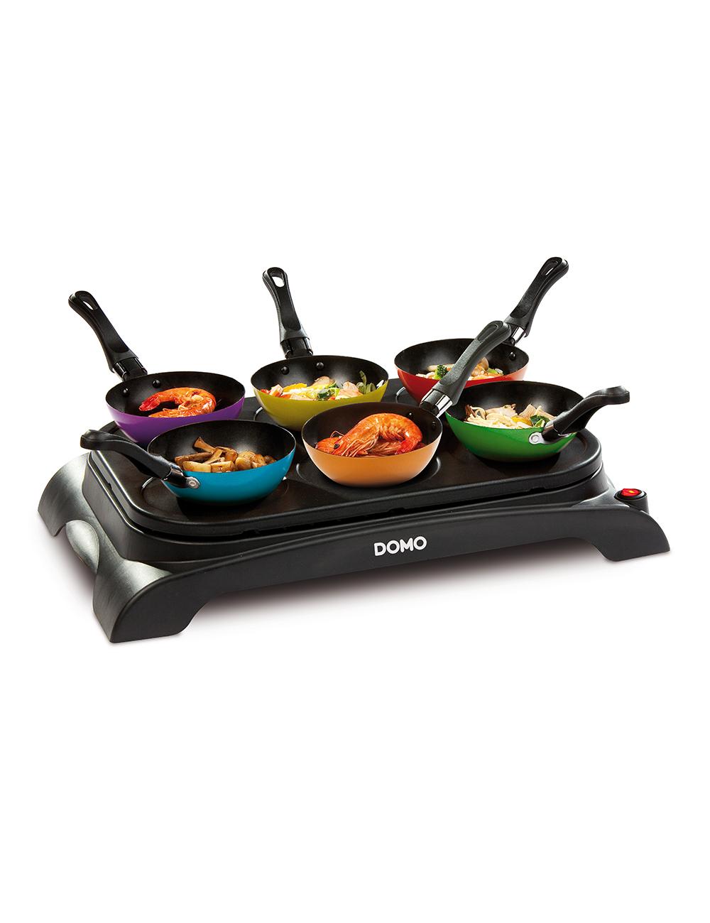 Wok cr pes party de domo 2 en 1 avec 6 mini woks for Domo matelas