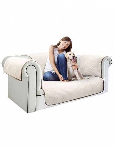housse canap 2 places starlyf marron beige la 240 cm. Black Bedroom Furniture Sets. Home Design Ideas