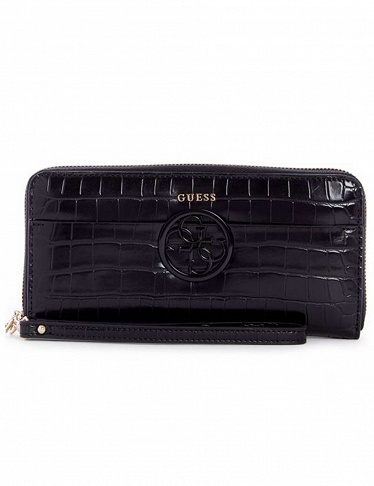 GUESS HALLEY Large Zip Around Schwarz Damen-Geldbörse Portemonnaie Wallet