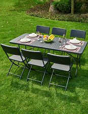 Table pliante avec 6 chaises
