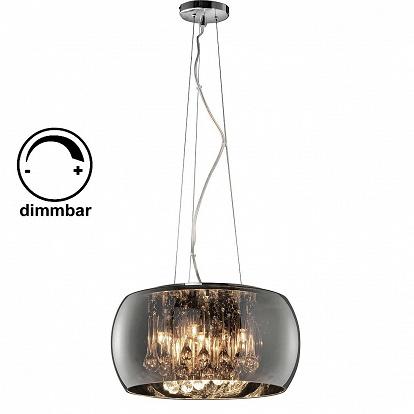 h ngelampe mit rauchglas schirm chrombedampft. Black Bedroom Furniture Sets. Home Design Ideas
