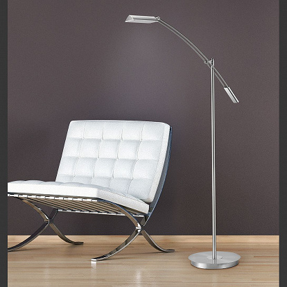 Noble LED Stehlampe in Nickel matt