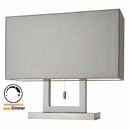 tischleuchte in lederoptik mit zugschalter. Black Bedroom Furniture Sets. Home Design Ideas