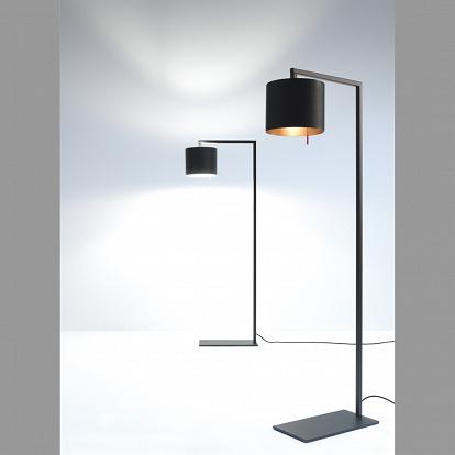 stehlampe afra von anta in schwarz schirm innen goldfarben. Black Bedroom Furniture Sets. Home Design Ideas