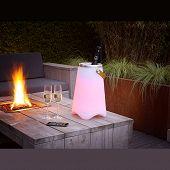 Ambiente Outdoor Lampe bunte Farblichter plus Lautsprecher plus Flaschenkühler all in one