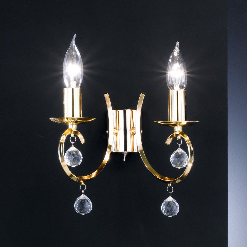 glitzernde wandlampe messing poliert mit glasbehang. Black Bedroom Furniture Sets. Home Design Ideas
