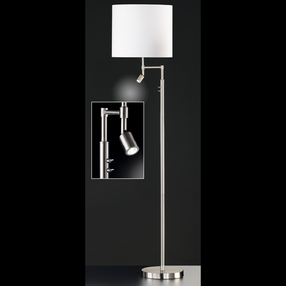 variable stehlampe mit led spot schirm weiss. Black Bedroom Furniture Sets. Home Design Ideas