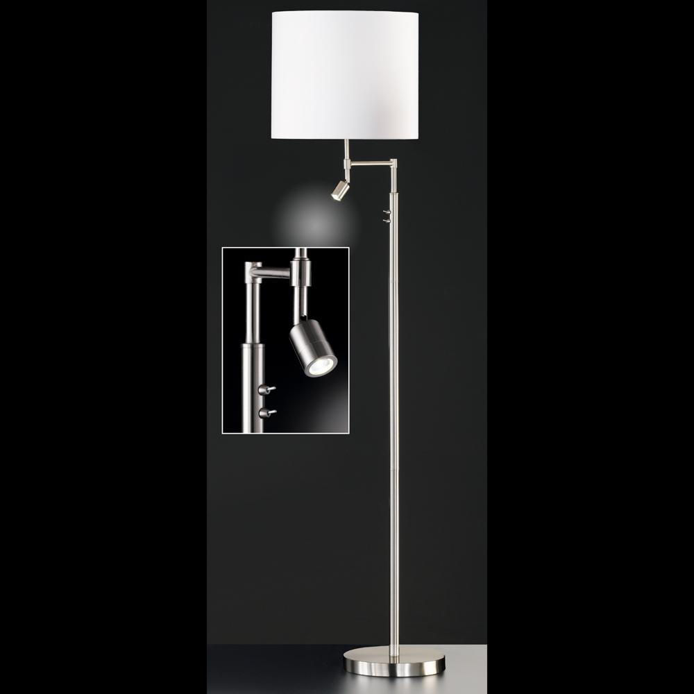 variable stehlampe mit led spot schirm weiss. Black Bedroom Furniture Sets. Home Design Ideas