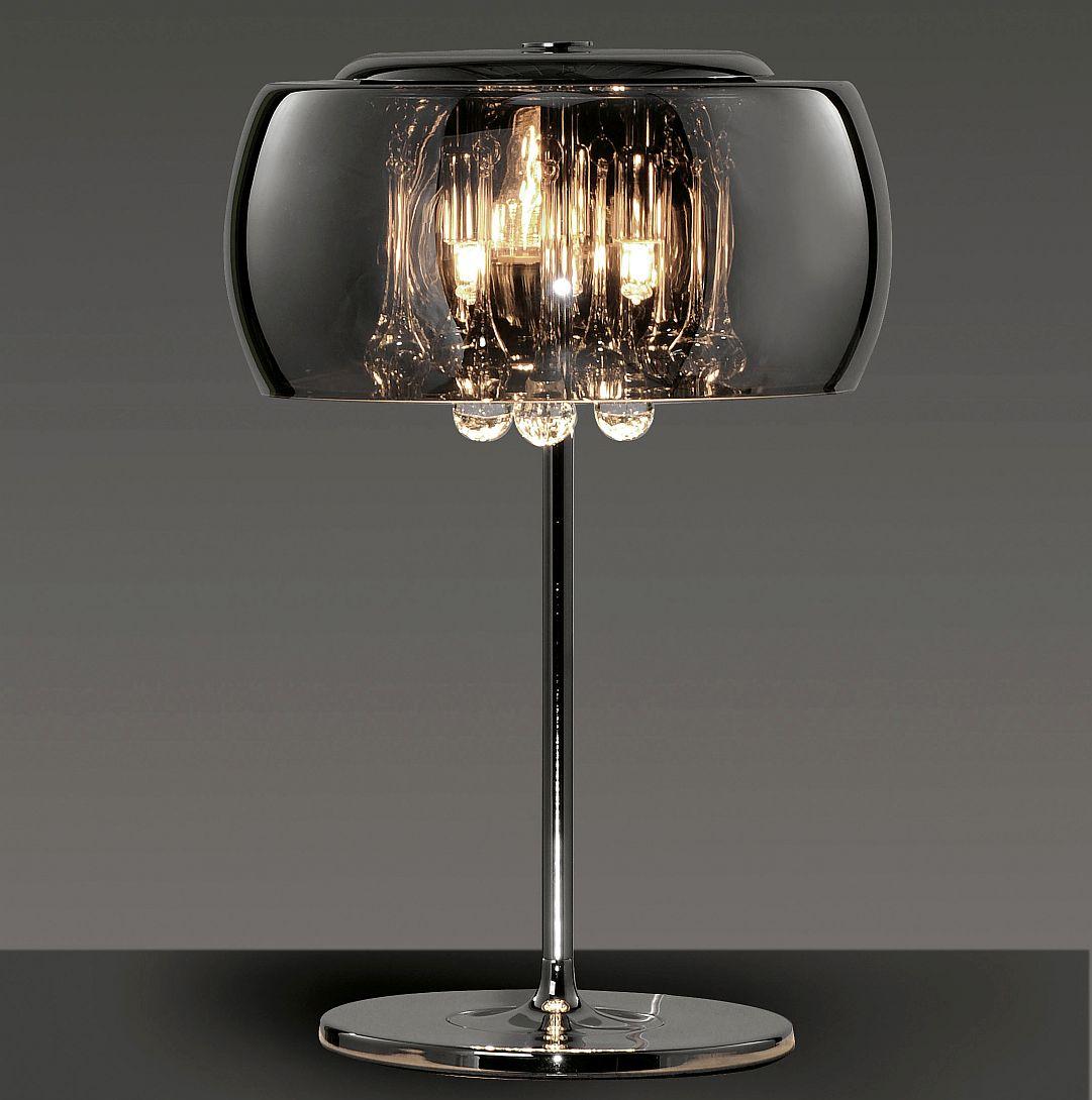 tischlampe mit aufwendigen glastropfen hinter rauchglas schirm. Black Bedroom Furniture Sets. Home Design Ideas