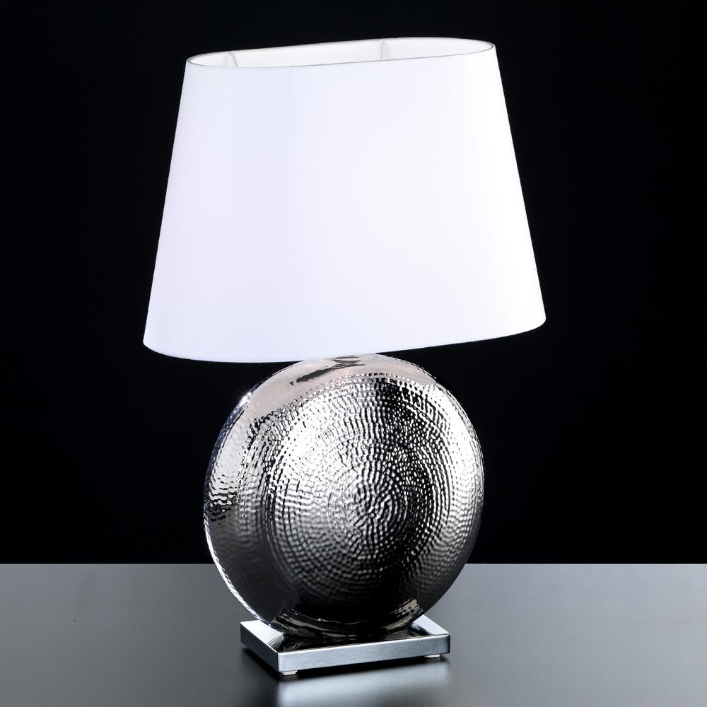 ovale tischlampe in keramik chrom. Black Bedroom Furniture Sets. Home Design Ideas