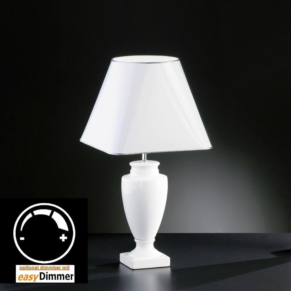 weisse gl nzende tischlampe mit lackiertem schirm. Black Bedroom Furniture Sets. Home Design Ideas