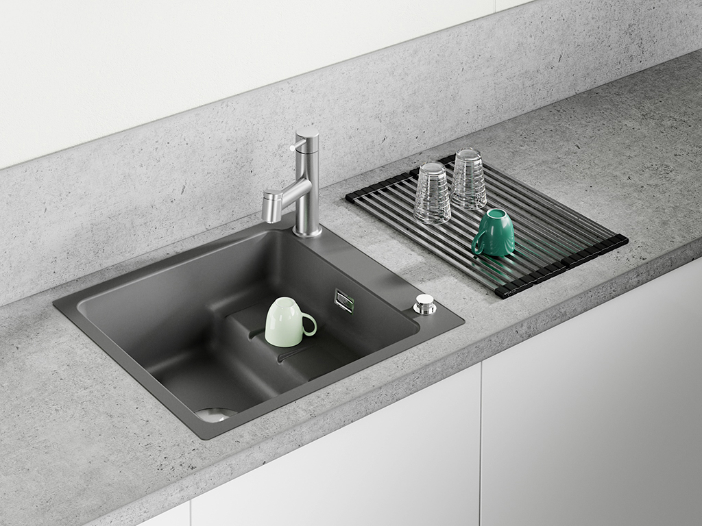 NABER-CONTURA® PickUP, slate, with Steel 2 faucet