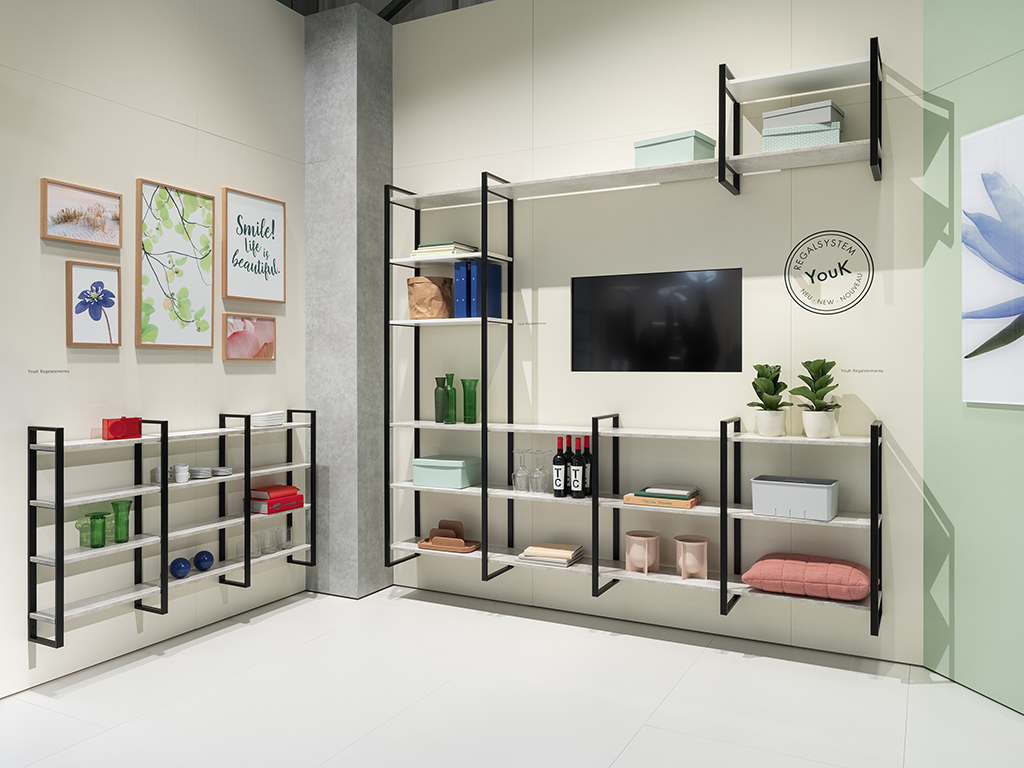 area30 Löhne 2019: Naber trade fair stand ACCOMODA® YouK shelving system