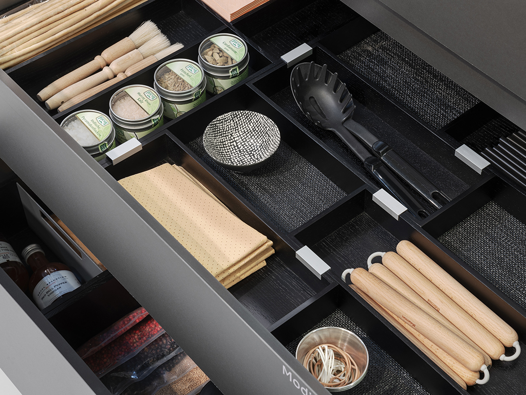 area30 Löhne 2019: Naber trade fair stand STOREX® Modify drawer system