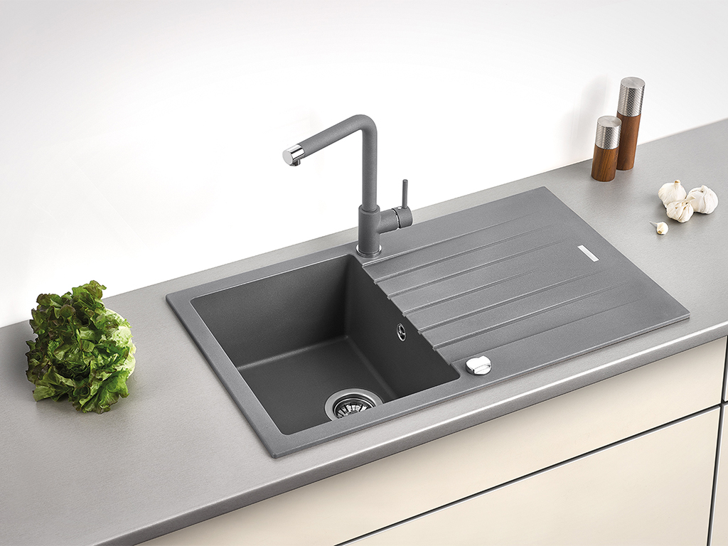 Built-in sink Angola 100 with Gramix 1 high pressure faucet, granite metallico