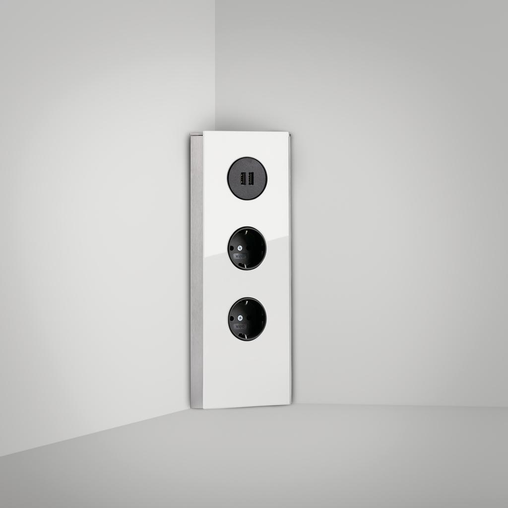 Mira Eck Glas USB A, Ecksteckdosenelement, Edelstahl/Glas weiß