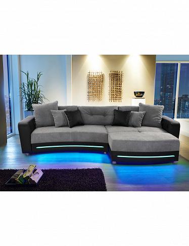 ecksofa party mit beleuchtungsleiste und soundsystem. Black Bedroom Furniture Sets. Home Design Ideas
