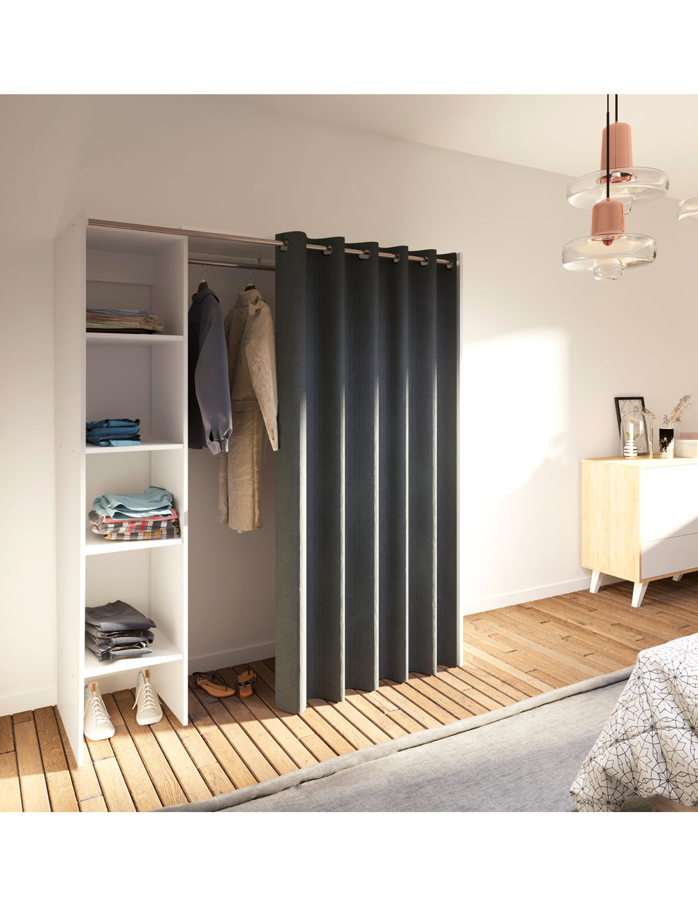 armoire extensible dressing 1 avec rideau inclus. Black Bedroom Furniture Sets. Home Design Ideas