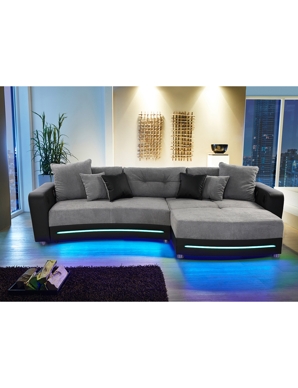ecksofa party mit beleuchtungsleiste und soundsystem schwarz grau. Black Bedroom Furniture Sets. Home Design Ideas