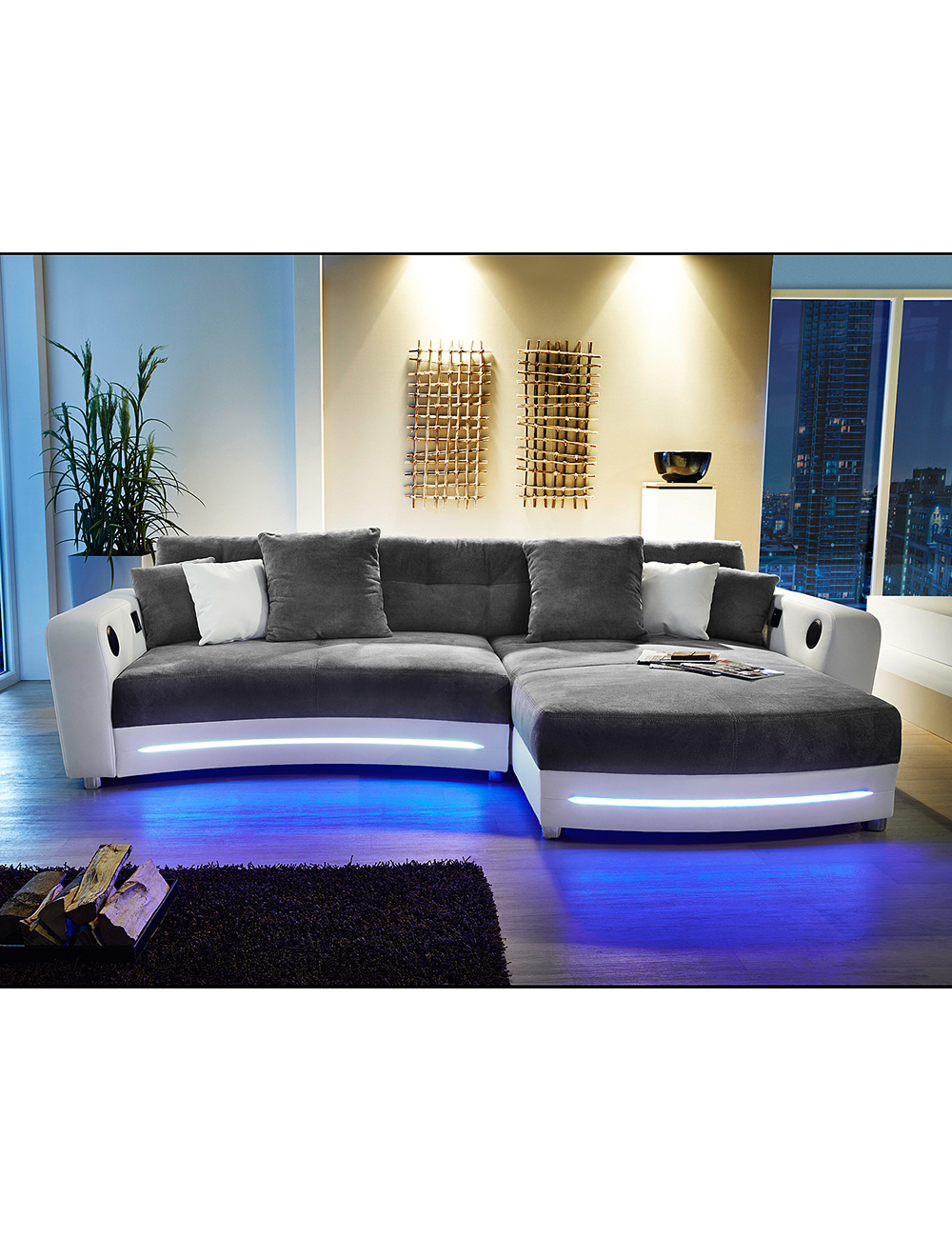 ecksofa party weiss grau mit beleuchtungsleiste und soundsystem. Black Bedroom Furniture Sets. Home Design Ideas