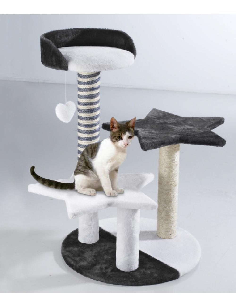 kratzbaum star mit kuscheligem pl sch katzenbett. Black Bedroom Furniture Sets. Home Design Ideas