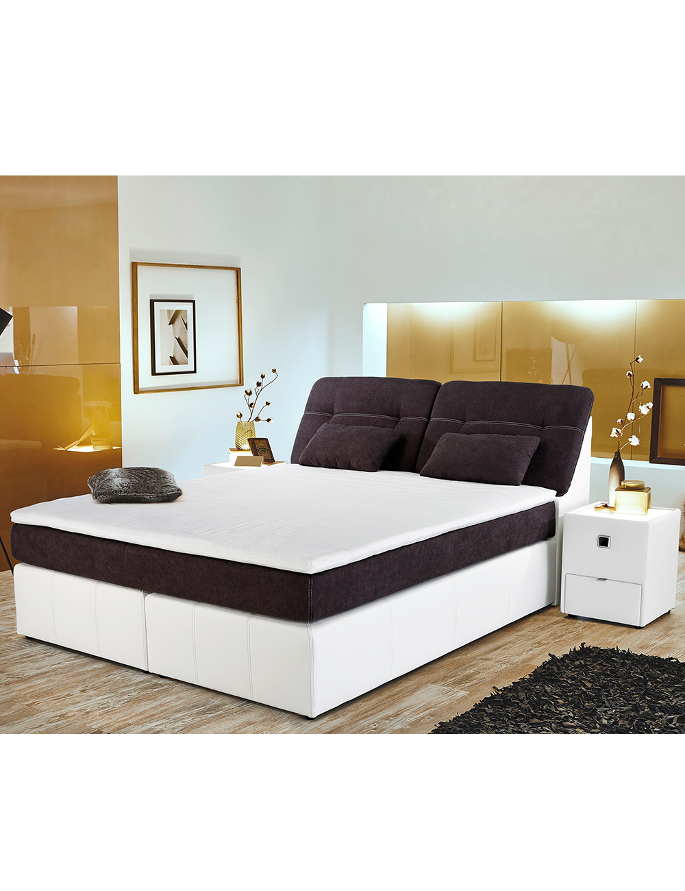lit boxspring palace 180 x 200 cm noir blanc. Black Bedroom Furniture Sets. Home Design Ideas