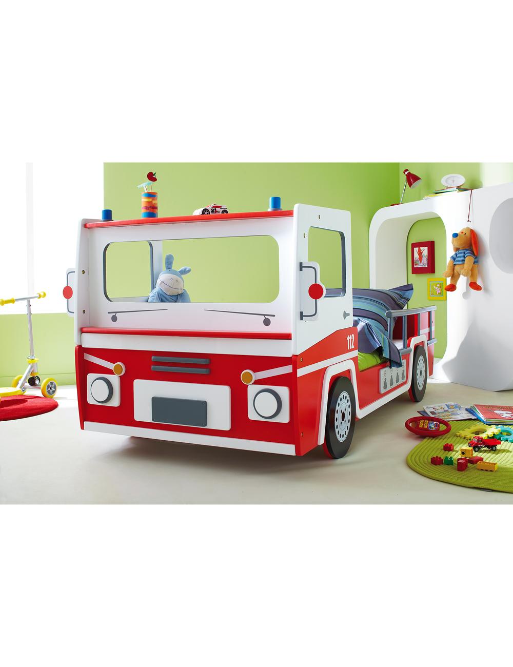 Lit Camion De Pompier En Mdf Anti Rayures