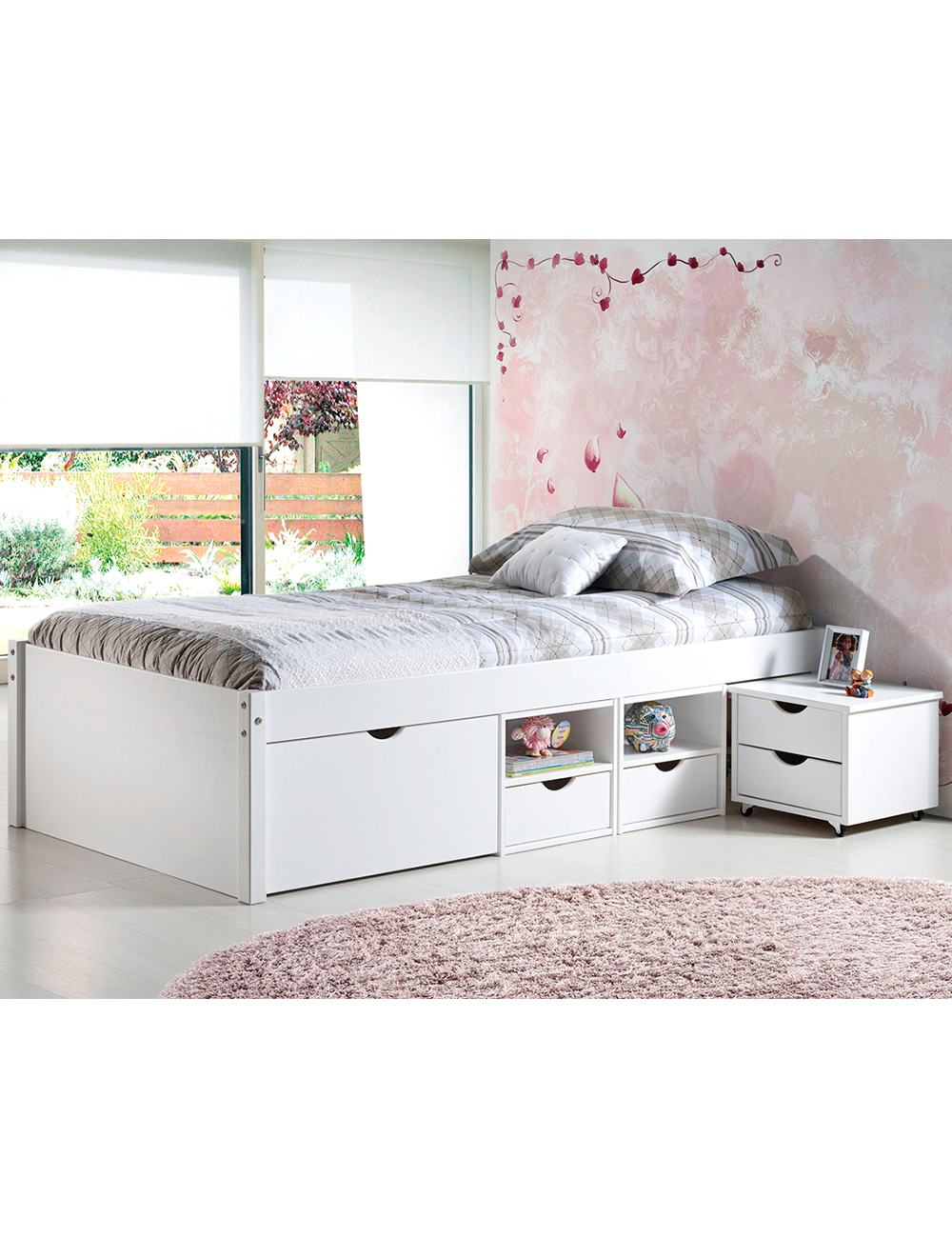 lit multi rangement en pin massif teint blanc 90 x 200 cm. Black Bedroom Furniture Sets. Home Design Ideas