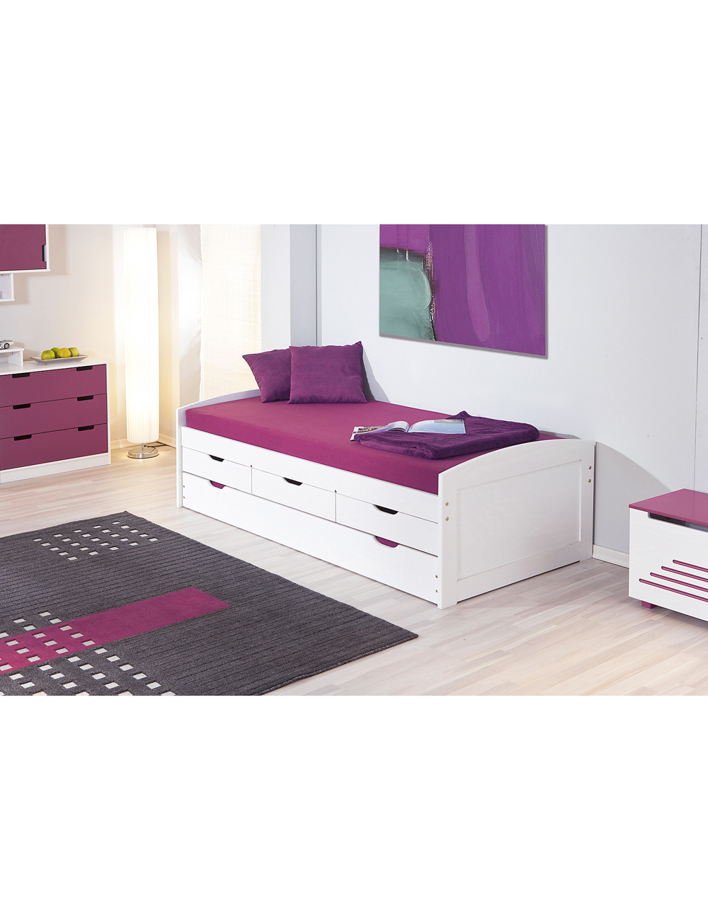 lit multi rangements 90 x 200 cm pin massif. Black Bedroom Furniture Sets. Home Design Ideas
