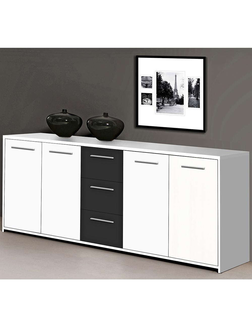 Sideboard «Lounge», weiss/schwarz