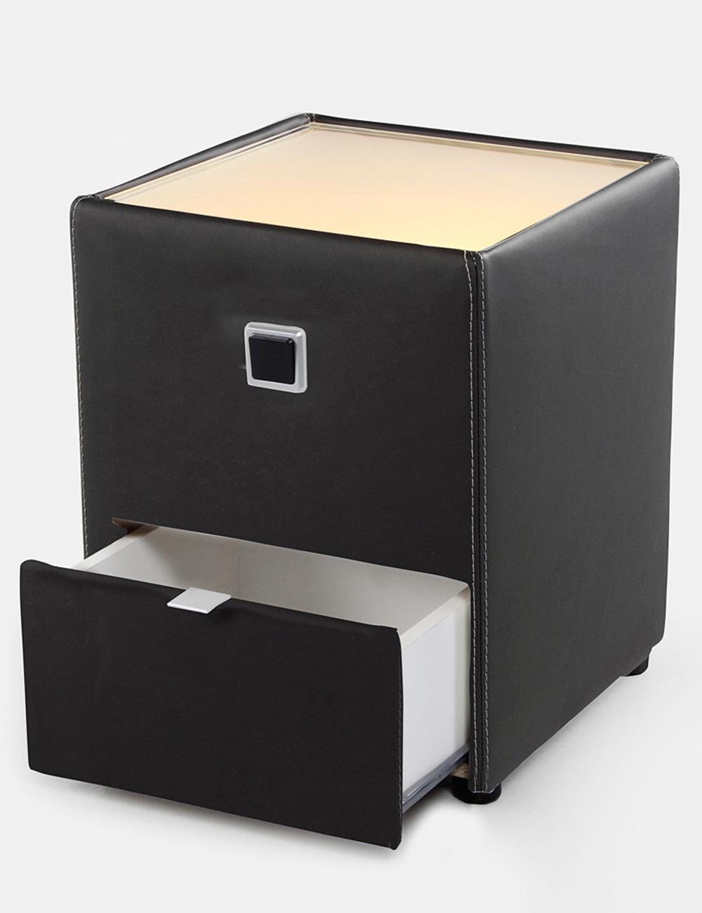 table de chevet lenny noir. Black Bedroom Furniture Sets. Home Design Ideas