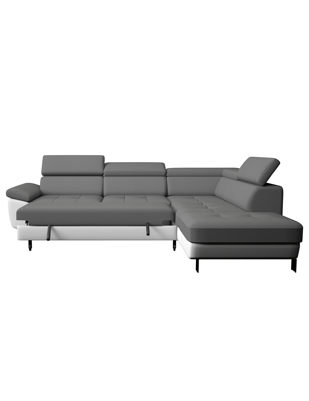 schlaf ecksofa kate grau weiss. Black Bedroom Furniture Sets. Home Design Ideas