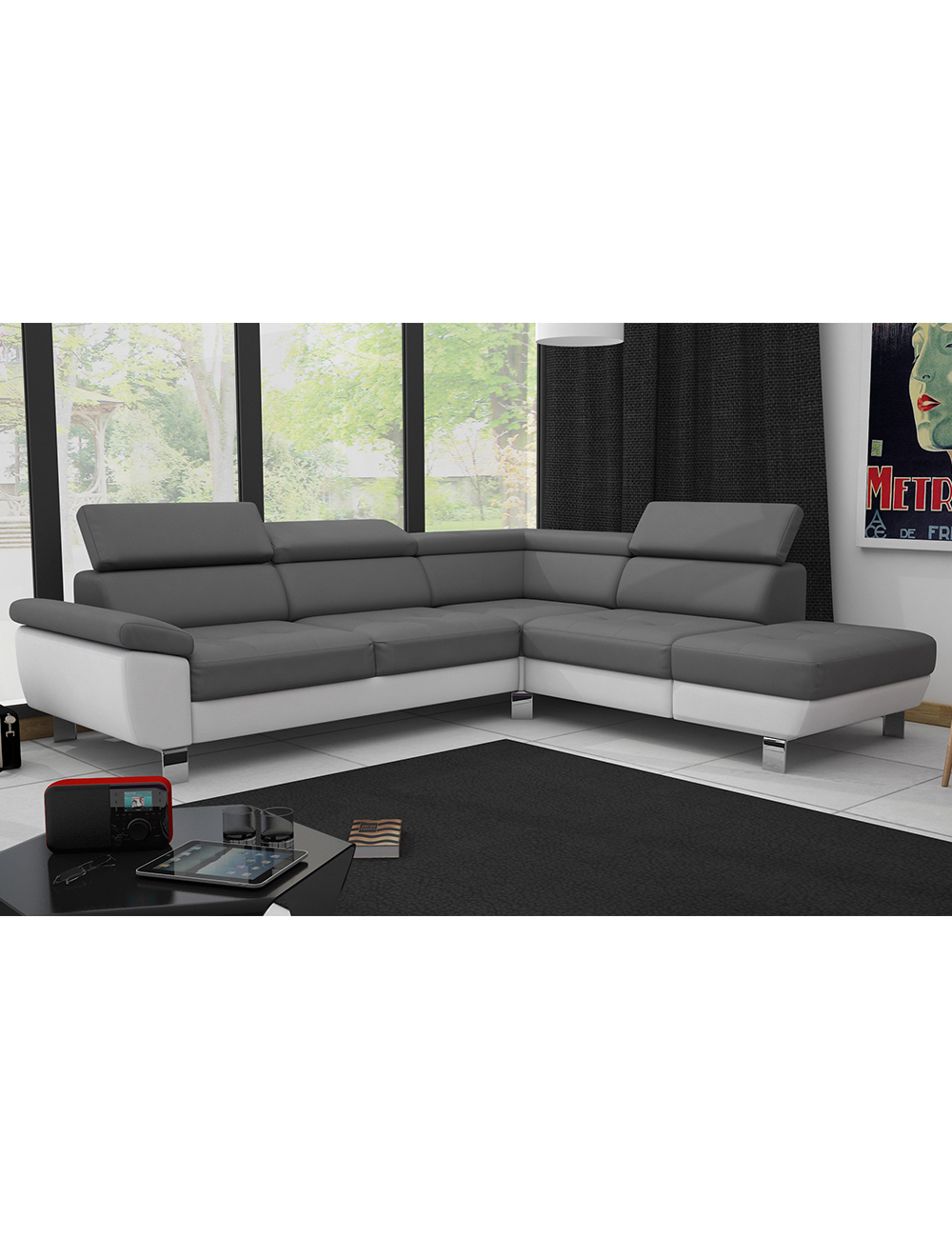 ecksofa kate verstellbare kopfst tzen grau weiss. Black Bedroom Furniture Sets. Home Design Ideas