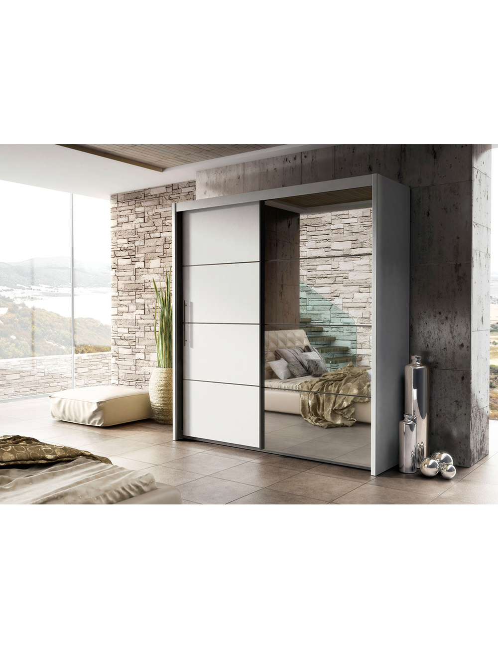 kleiderschrank mateo mit spiegelt r b 200 cm. Black Bedroom Furniture Sets. Home Design Ideas