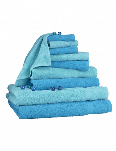 10-teiliges Frottee-Set, superflauschig, blau/türkis