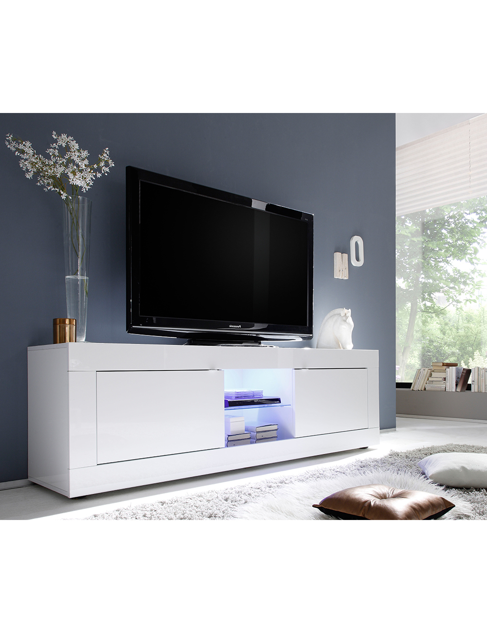 meuble tv bianco. Black Bedroom Furniture Sets. Home Design Ideas