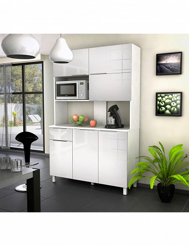meuble micro ondes glossy 6 portes blanc. Black Bedroom Furniture Sets. Home Design Ideas