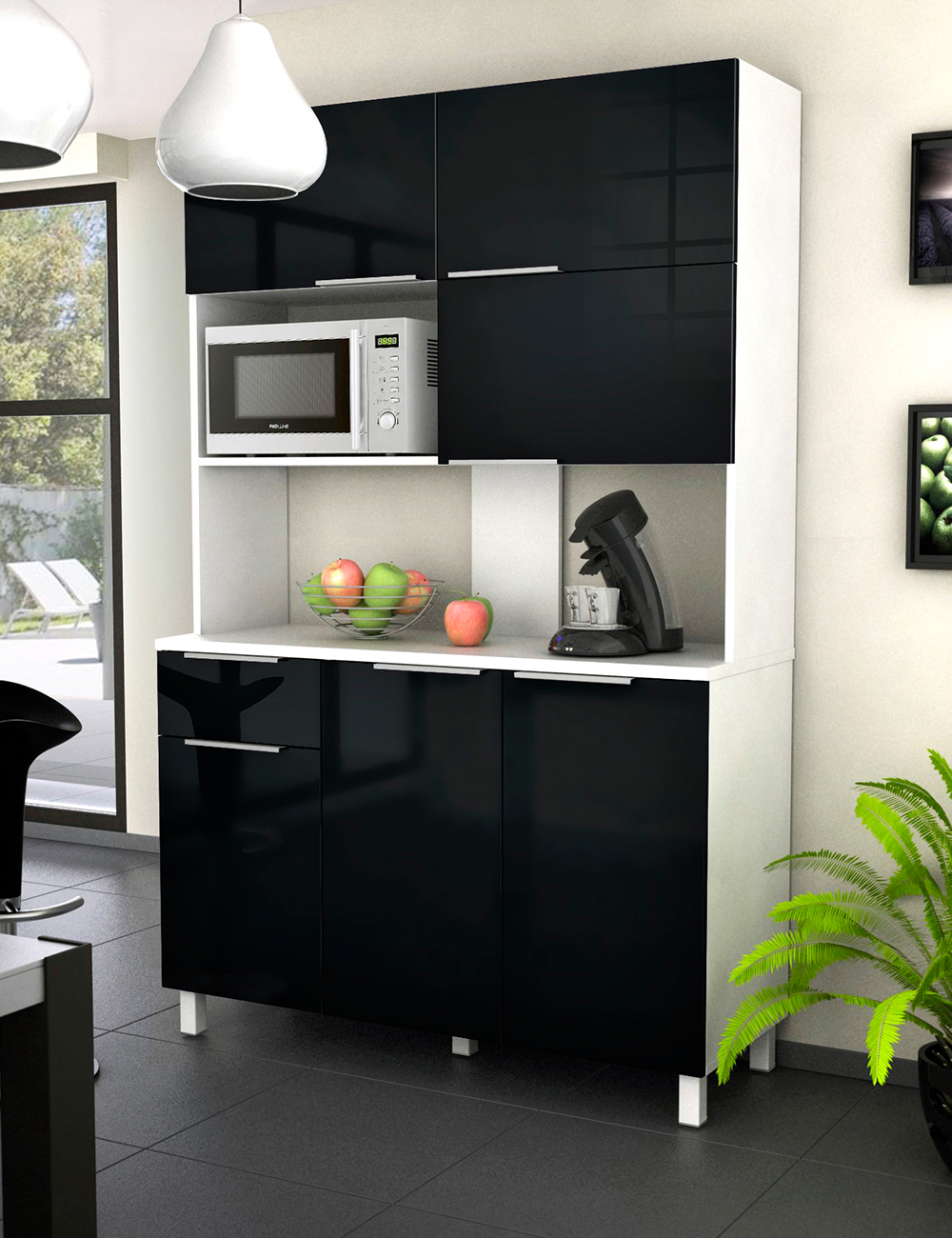 meuble micro ondes glossy 6 portes noir. Black Bedroom Furniture Sets. Home Design Ideas