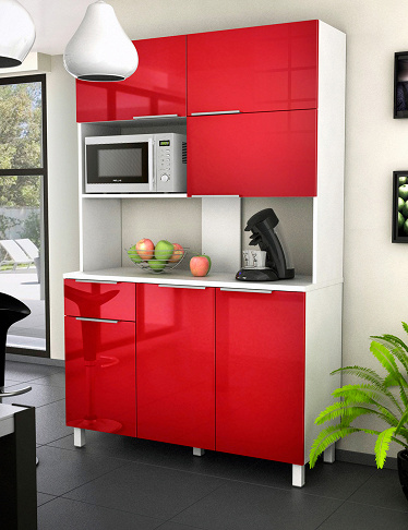meuble micro ondes glossy 6 portes rouge. Black Bedroom Furniture Sets. Home Design Ideas