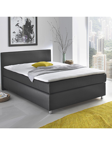 boxspringbett new york 140 x 200 cm schwarz. Black Bedroom Furniture Sets. Home Design Ideas
