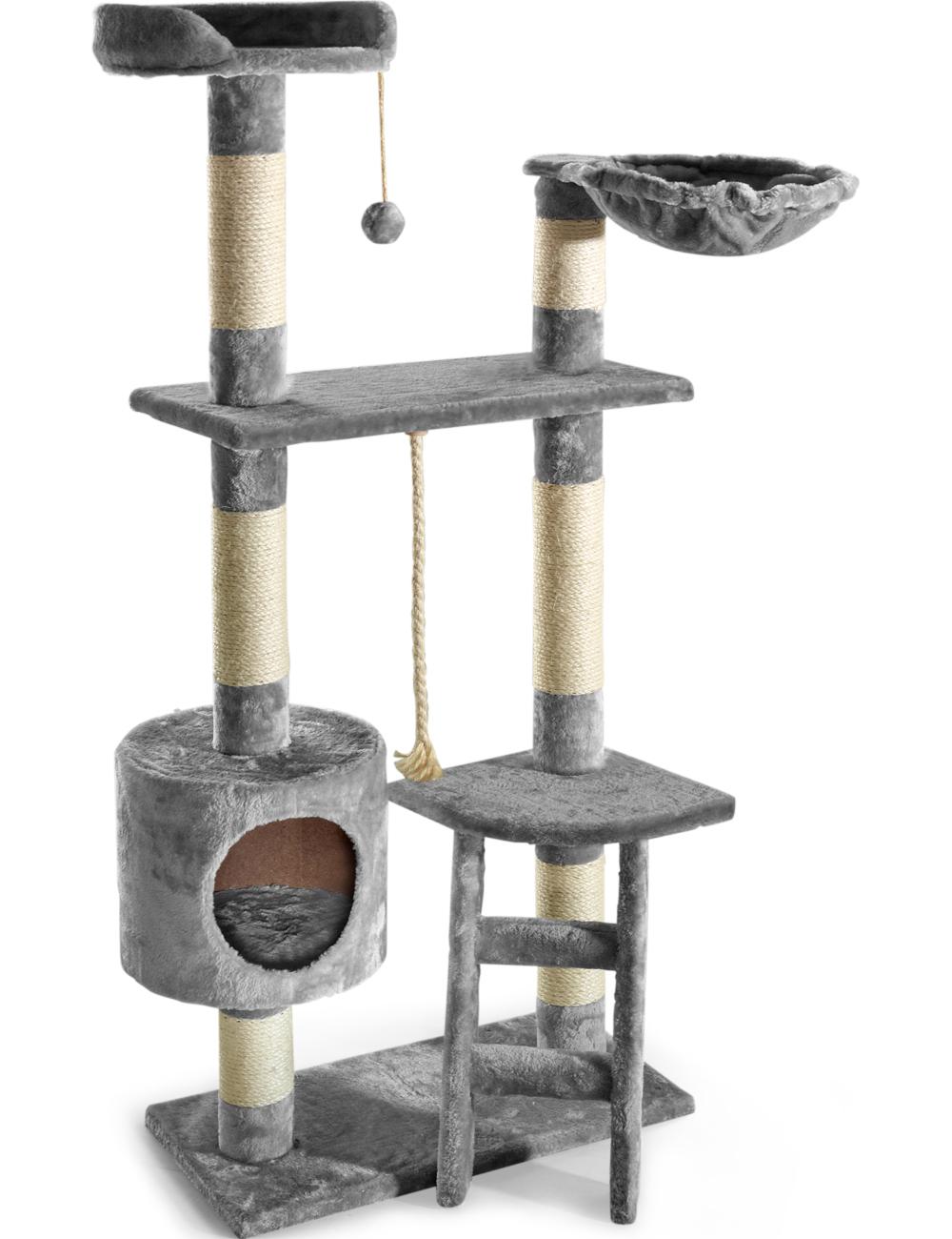 arbre chats avec chelle hamac et niche gris. Black Bedroom Furniture Sets. Home Design Ideas